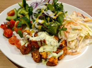 Lunch salad coleslaw chicken